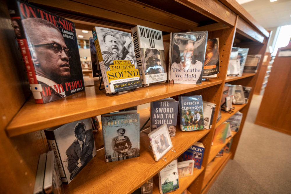 Black History Month display of books at the Elmont Memorial Library in Elmont, New York, on January 29, 2021. (Alejandra Villa Loarca/Newsday RM via Getty Images)