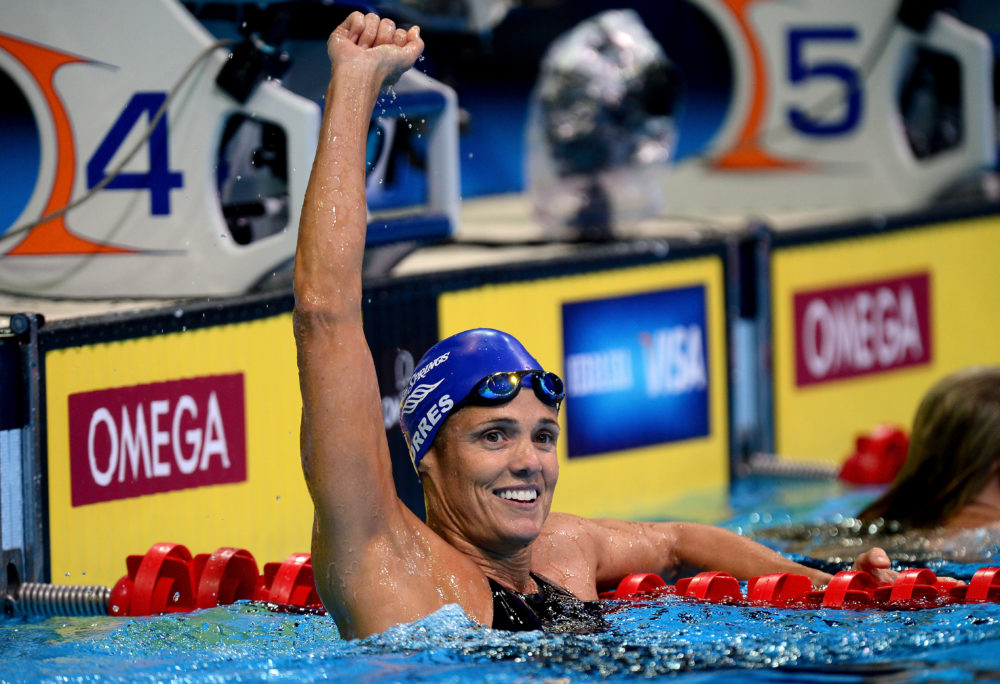 Dara Torres celebrates after she competed in the second semi final heat of the Women's 50 m Freestyle during Day Seven of the 2012 U.S. Olympic Swimming Team Trials at CenturyLink Center on July 1, 2012 in Omaha, Nebraska.  (Jamie Squire/Getty Images)