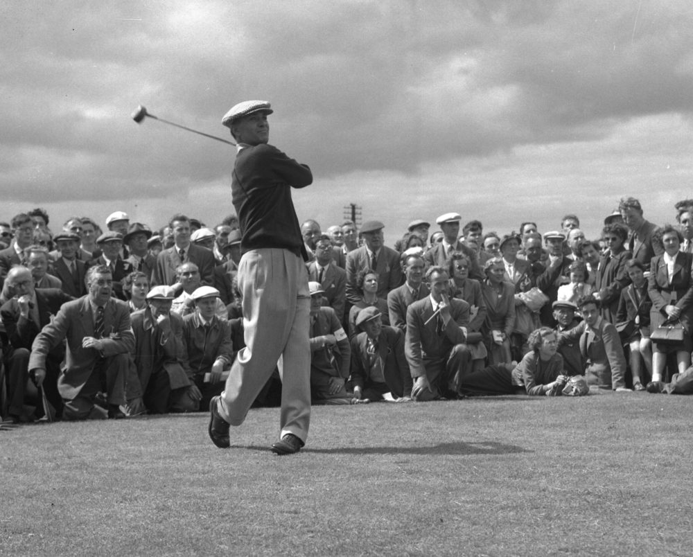 In this July 6, 1953, file photo, Ben Hogan drives from the 10th tee on the Burnside course during the British Open golf tournament at Carnoustie, Scotland. (Dennis Lee Royle/AP)