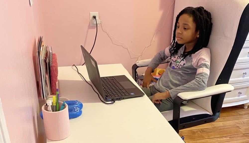 Avery Burton, Shylanda Johnson's youngest child, attends BPS classes remotely. (Courtesy of Shylanda Johnson)