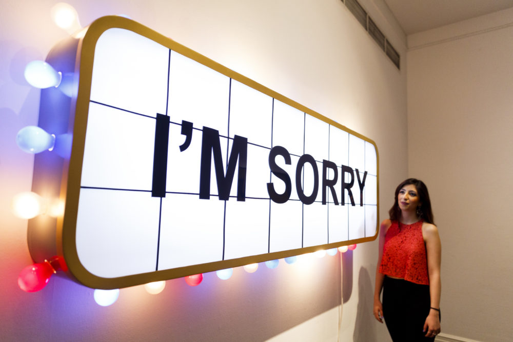 """""""I'm Sorry"""" by the Iraqi artist Adel Abidin is unveiled as part of Sotheby's Middle Eastern Art Week on April 15, 2016 in London, England. (Tristan Fewings/Getty Images for Sotheby's)"""
