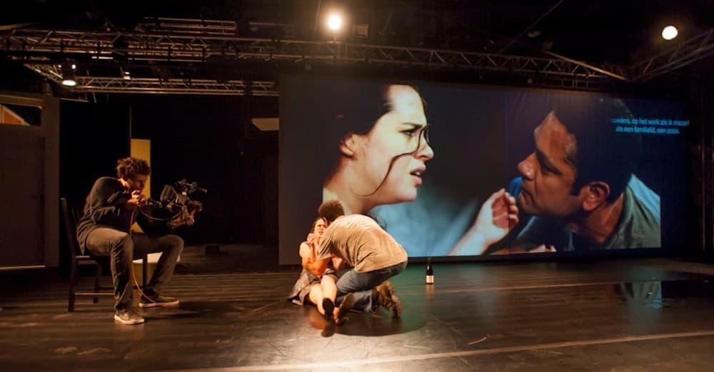 "Julia Bernat  and Rodrigo de Odé in ""Julia."" Paulo Camacho is the cameraman. (Courtesy Marcelo Lipiani)"