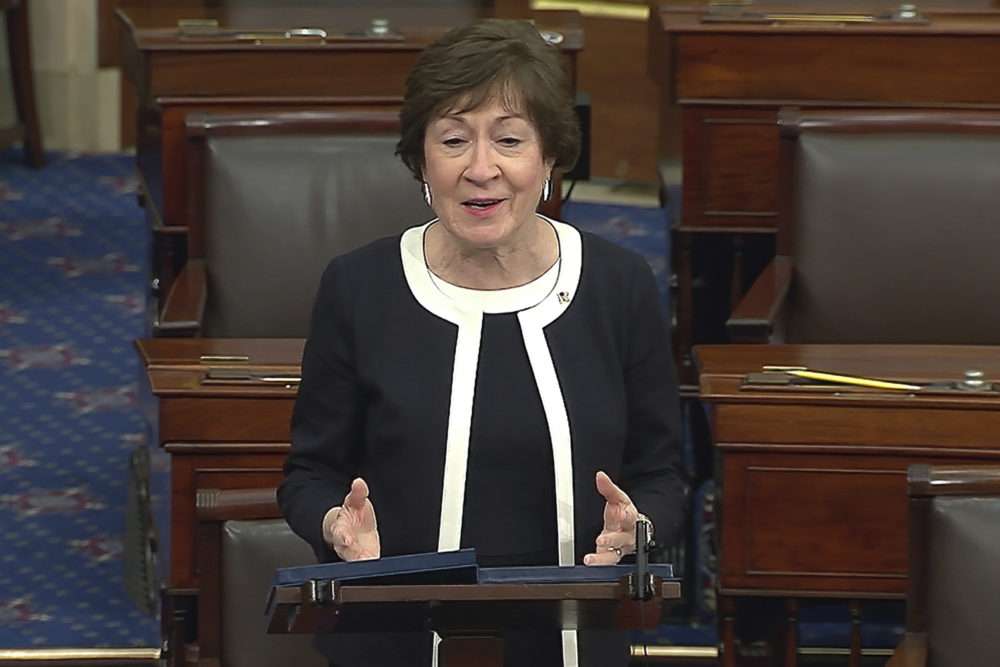 In this image from video, Sen. Susan Collins, R-Maine, speaks after the Senate acquitted former President Donald Trump in his second impeachment trial in the Senate on Feb. 13. (Senate Television via AP)