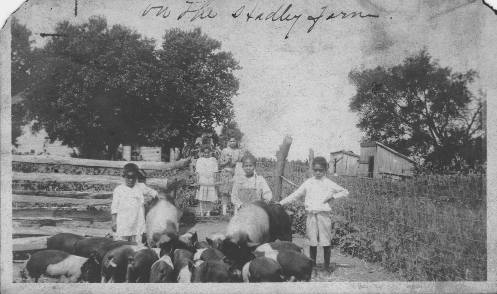 New Philadelphians and great-grandchildren of town founder Frank McWorter with the pigs they were raising, circa 1920. (Courtesy)
