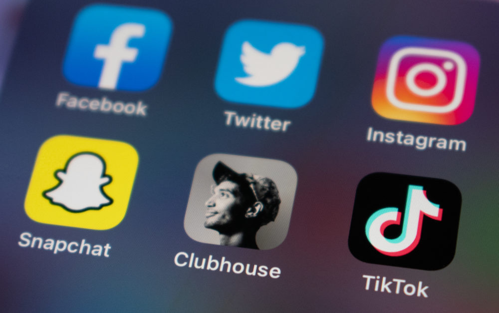 Axel Mansoor as the icon for the audio-only social media app Clubhouse. (Allison Hagan/Here & Now)