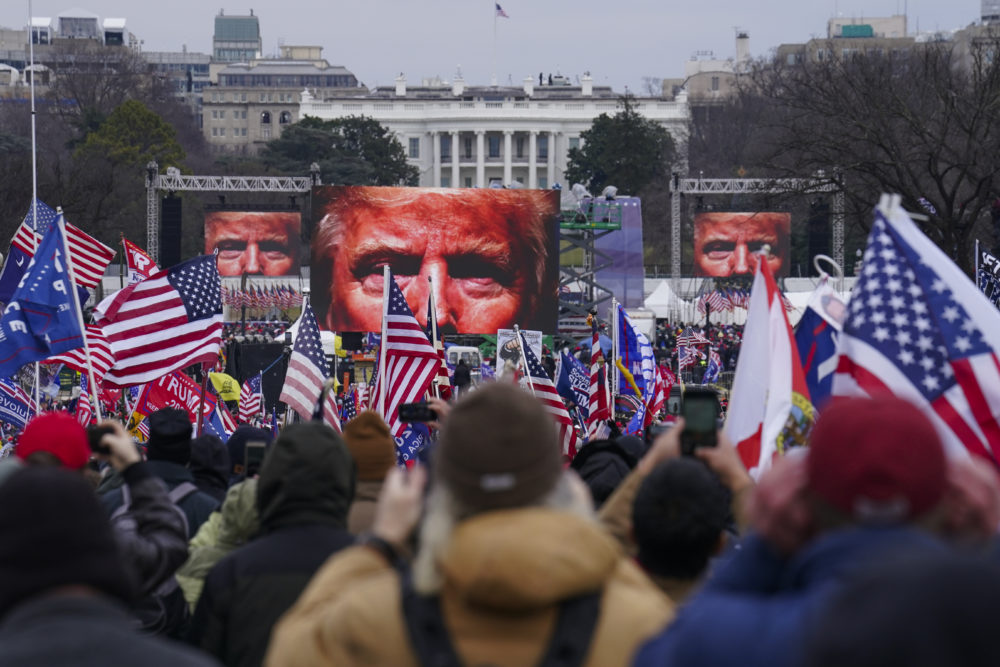 Facebook suspended then-President Donald Trump after some of his supporters stormed the U.S. Capitol on Jan. 6. Facebook's oversight board has ruled the social media company can continue to bar Trump. (John Minchillo/AP)