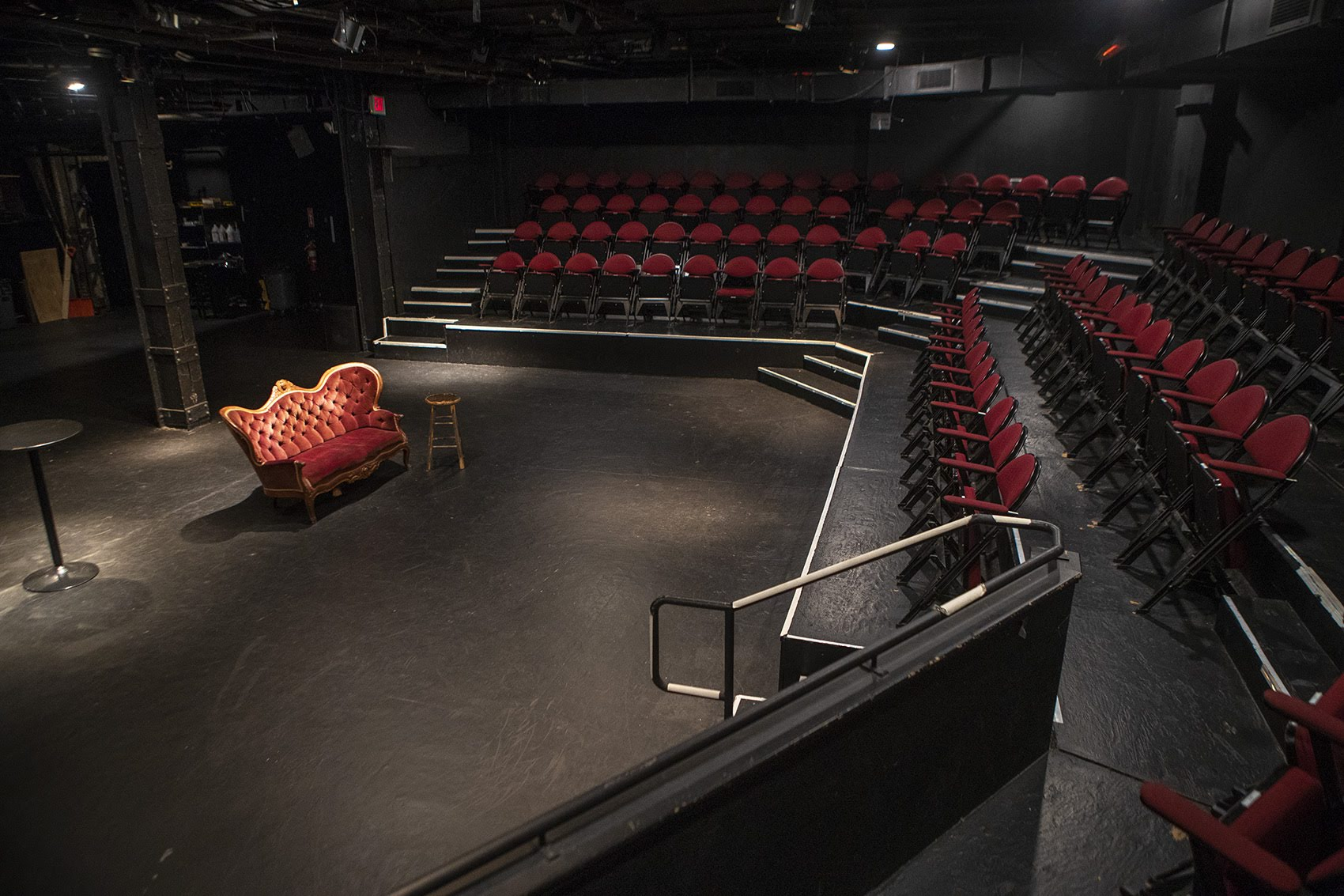 Boston performance venues, like the Plaza Theatre at the Boston Center for the Arts, are not racing to resume performances, despite new state guidelines allowing 50% capacity. (Jesse Costa/WBUR)