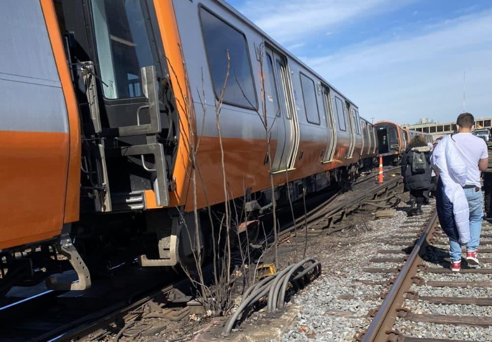 An Orange Line train derailed last week. (Courtesy @thetrueboston on Twitter via SHNS)