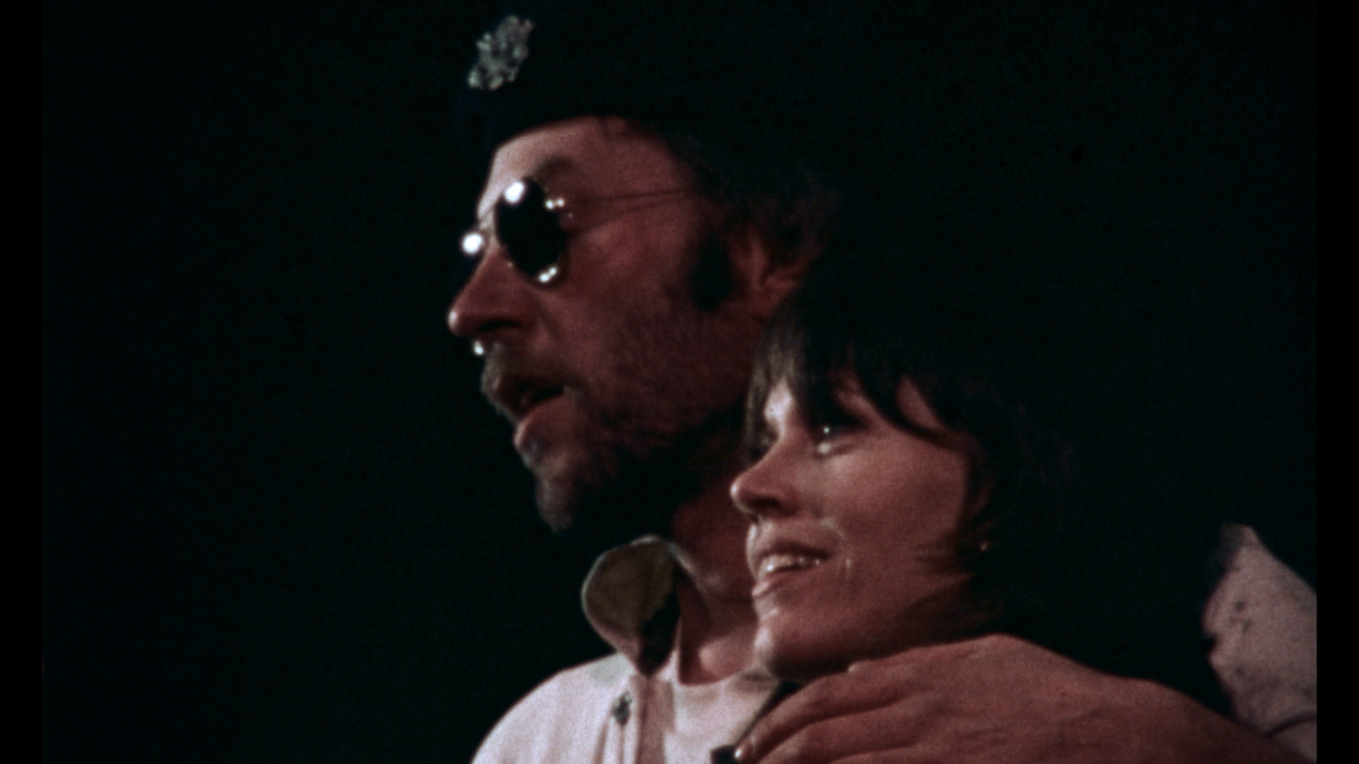 "Donald Sutherland (left) and Jane Fonda in a still from the documentary ""F.T.A."" (Courtesy Kino Lorber)"