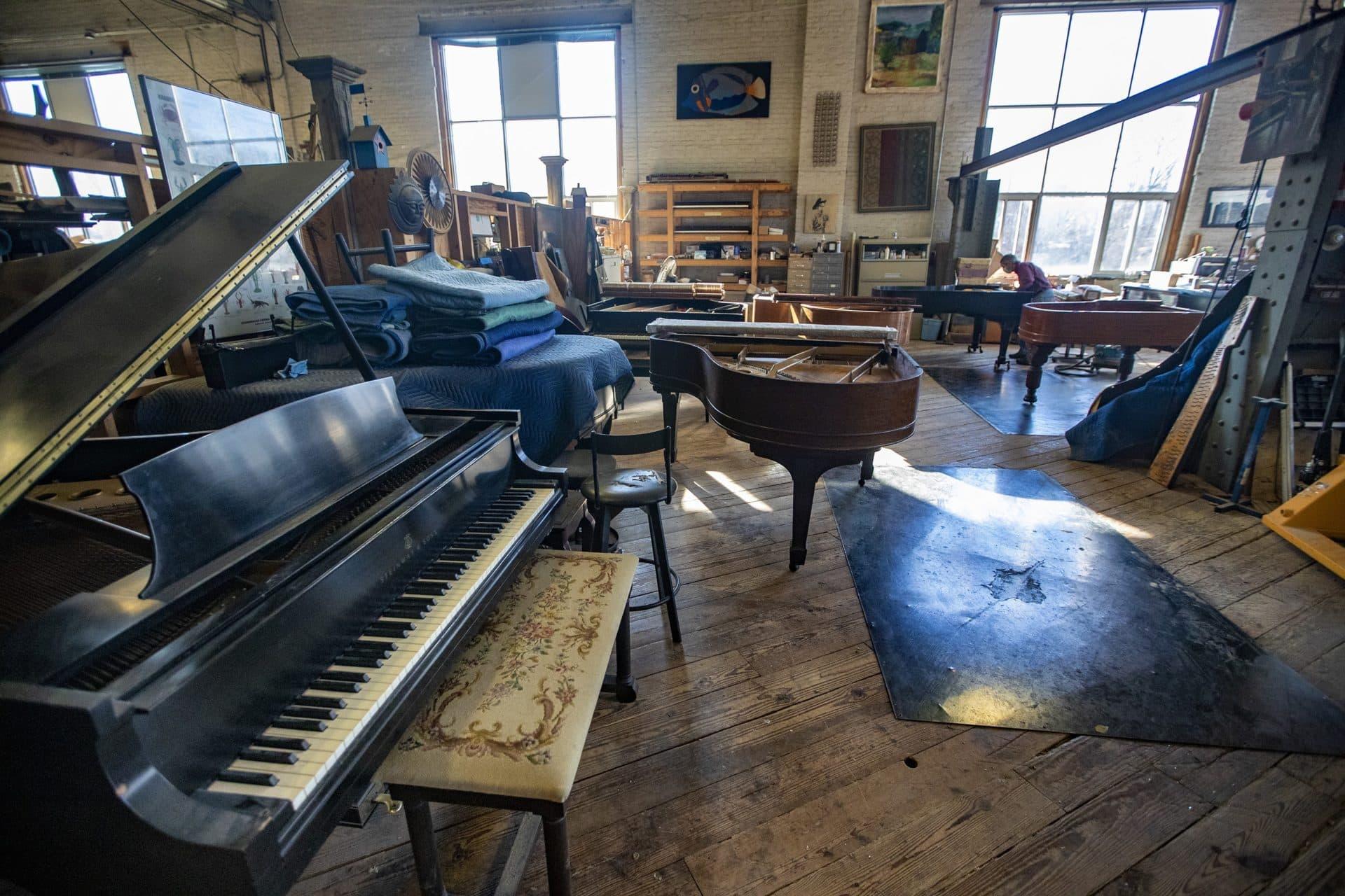Fred Mudge's shared piano workshop in Hyde Park.  (Jesse Costa / WBUR)