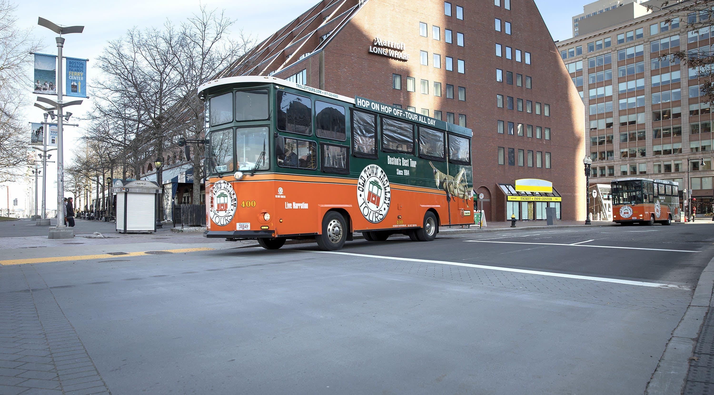Old Town Trolley Tours street cars on Atlantic Avenue. (Robin Lubbock/WBUR)