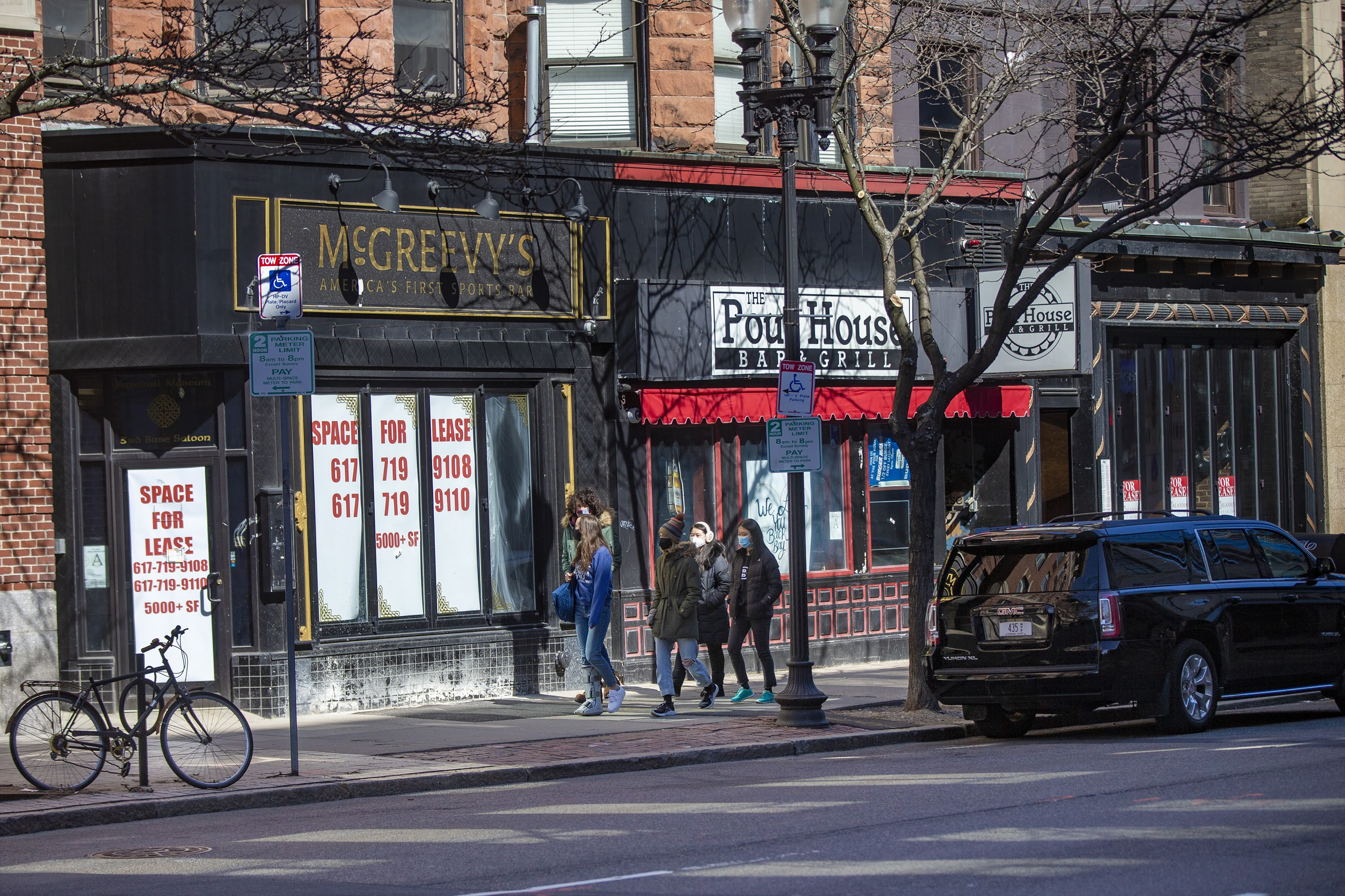 McGreevey's, Pour House, and Lir on Boylston Street have all closed since the start of the pandemic. (Jesse Costa/WBUR)