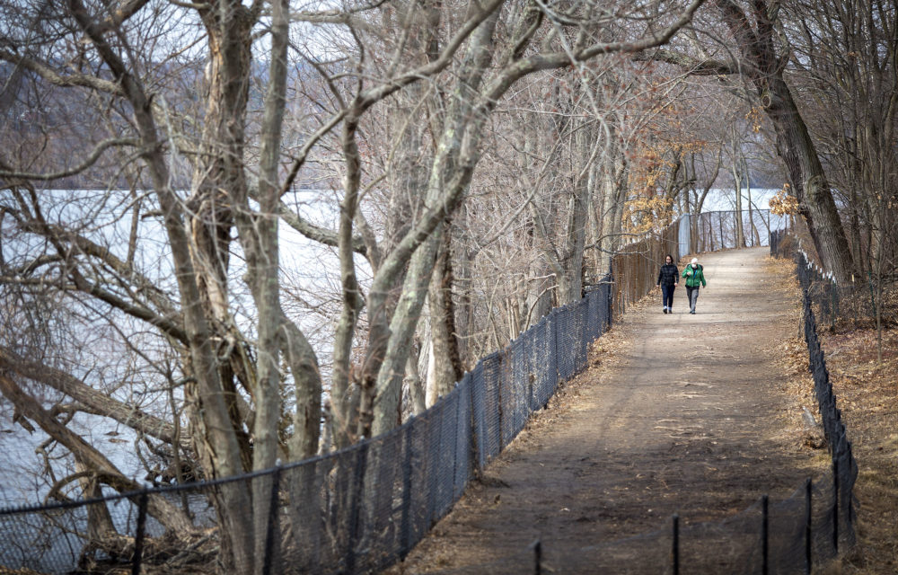Two walkers, out on a warm March day, make their way around Fresh Pond. (Robin Lubbock/WBUR)