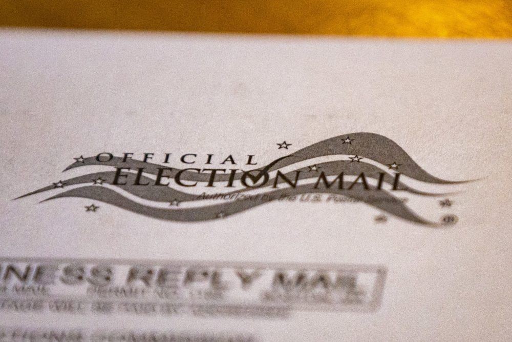 A 2020 election mail ballot in Massachusetts. (Jesse Costa/WBUR)