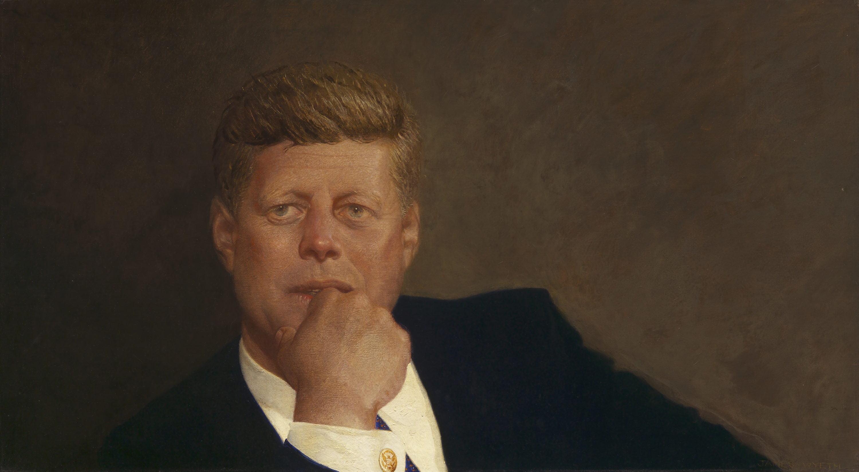"Jamie Wyeth completed ""Portrait of John F. Kennedy"" in 1967. On loan from the MFA, it now hangs in President Biden's private White House study. (Courtesy Museum of Fine Arts, Boston)"