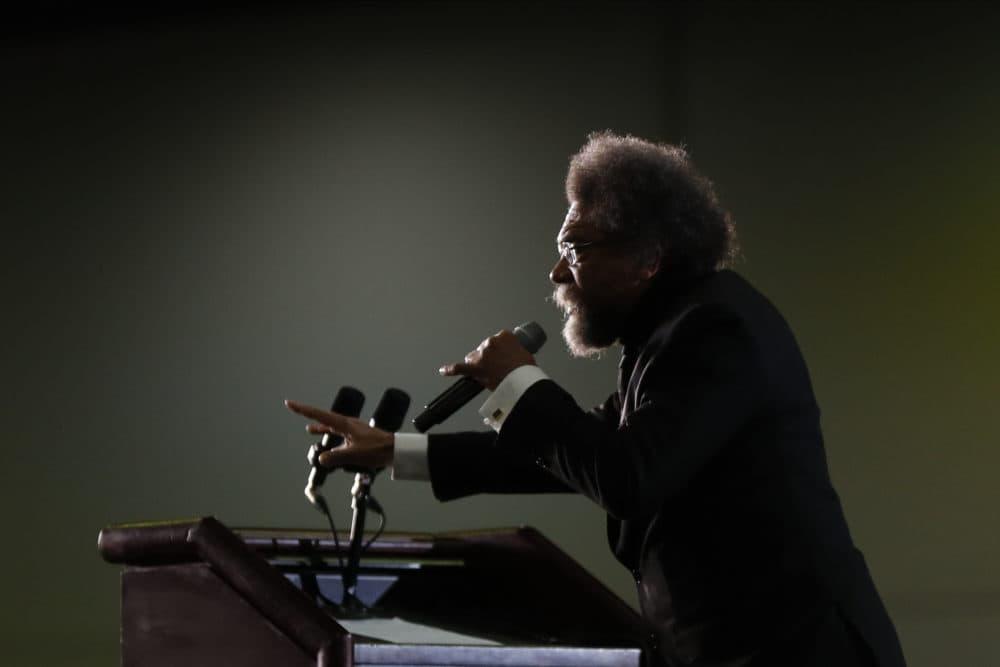 Cornel West speaks at a campaign rally for Democratic presidential candidate Sen. Bernie Sanders, in 2020. (Paul Sancya/AP)