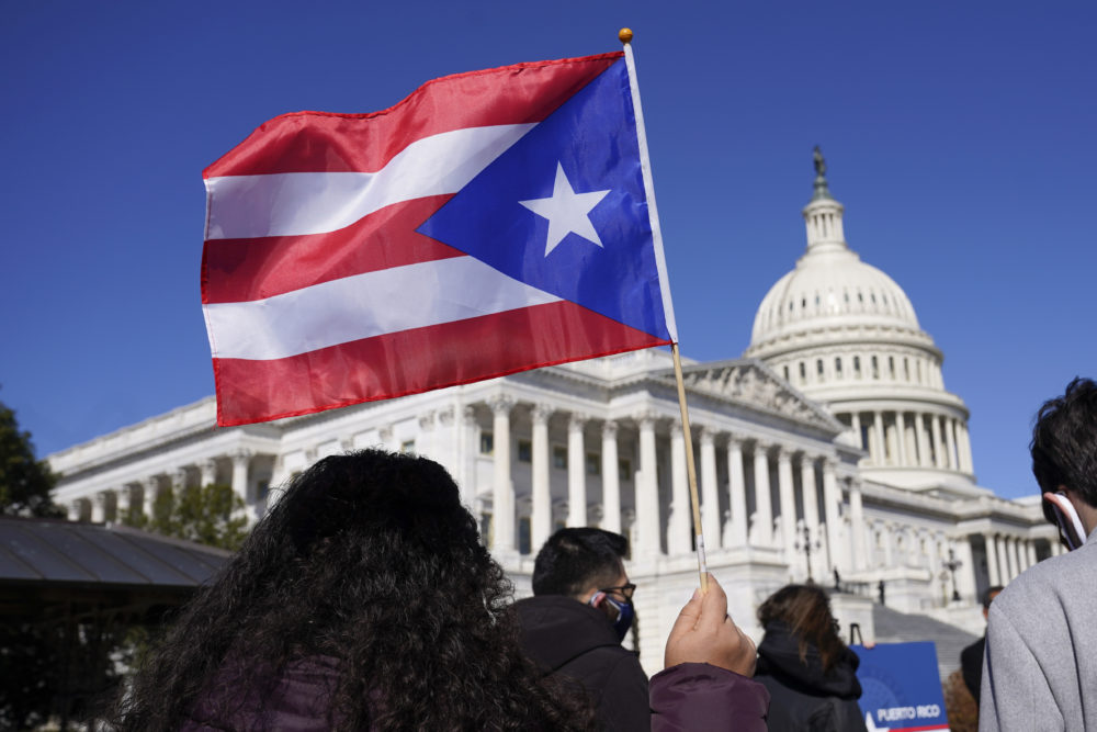 A woman waves the flag of Puerto Rico during a news conference on Puerto Rican statehood on Capitol Hill in Washington, D.C., on March 2, 2021. (Patrick Semansky/AP)