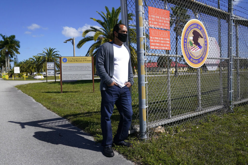 Kareen Troitino stands outside the Federal Corrections Institution, March 12, 2021, in Miami. Troitino, a local correction's officer union president, said that fewer than half of the facility's 240 employees have been fully vaccinated as of March 11. (Marta Lavandier/AP)