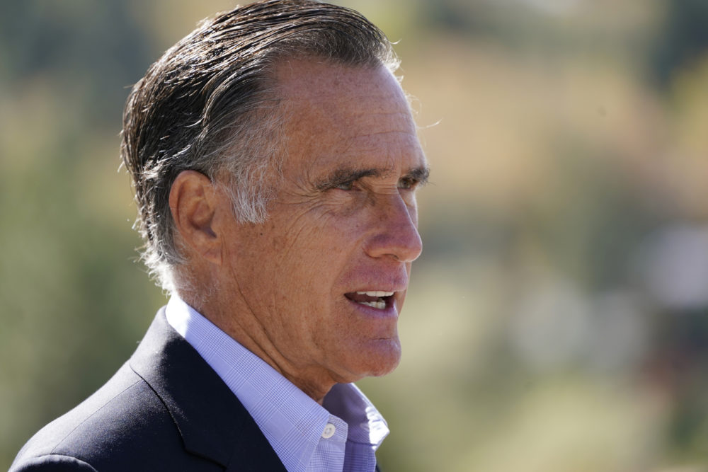 In this Oct. 15, 2020 file photo, Sen. Mitt Romney, R-Utah, speaks during a news conference near Neffs Canyon, in Salt Lake City.  Romney was named the winner of the Profile in Courage Award on Friday. (Rick Bowmer/AP File)