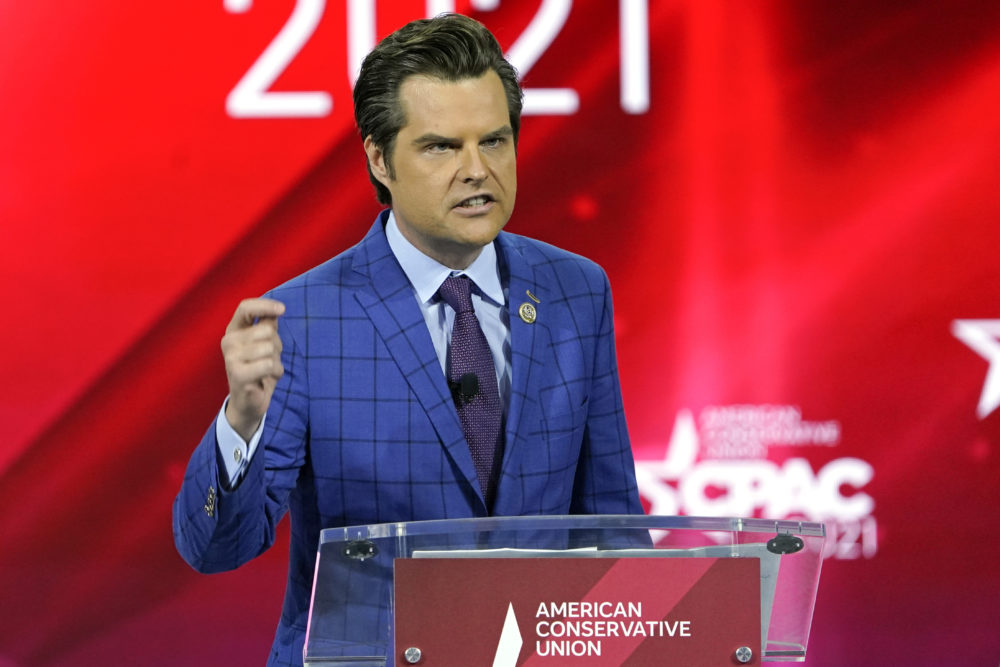 In this Feb. 26, 2021, file photo Rep. Matt Gaetz, R-Fla.,, speaks at the Conservative Political Action Conference (CPAC) in Orlando, Fla. (John Raoux/AP File)