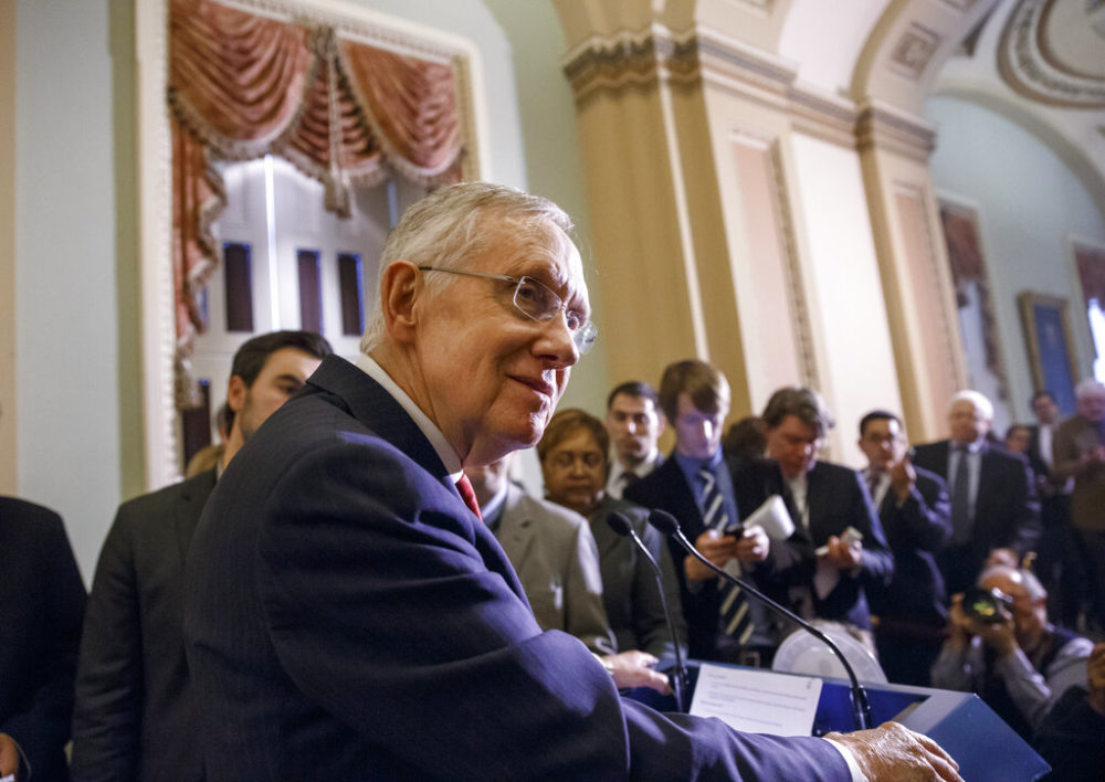 Senate Majority Leader Harry Reid of Nev. meets with reporters on Capitol Hill in Washington in 2014. (AP Photo/J. Scott Applewhite)