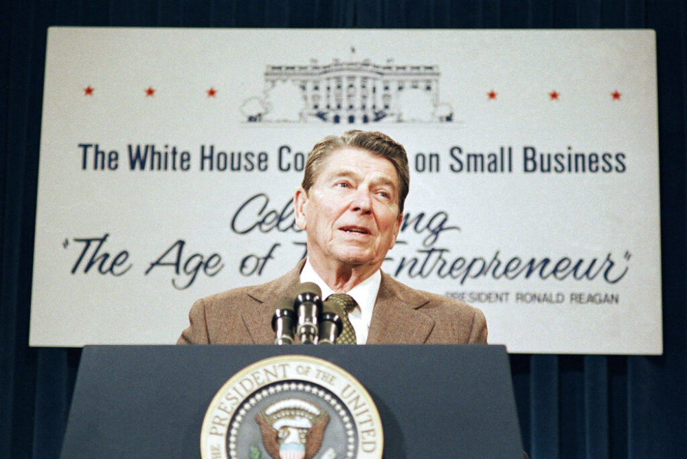 President Reagan addresses the White House Conference on Small Business on Friday, August 15, 1986 in Washington. (J. Scott Applewhite/AP Photo)