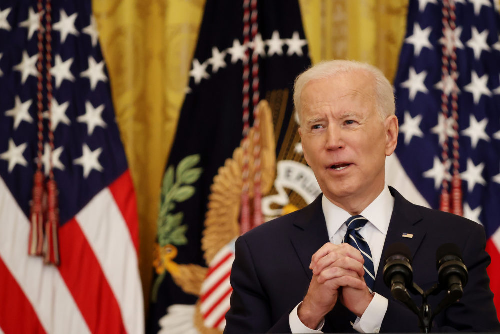 U.S. President Joe Biden answers questions during the first news conference of his presidency in the East Room of the White House on March 25, 2021 in Washington, D.C. (Chip Somodevilla/Getty Images)