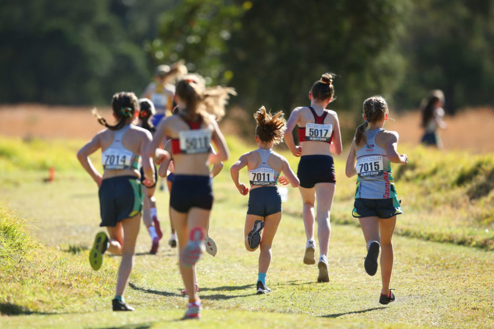Competitors race in the Girls 3k event during the Australian Cross-Country Championships at Kembla Grange on August 24, 2019 in Wollongong, Australia. (Jason McCawley/Getty Images)