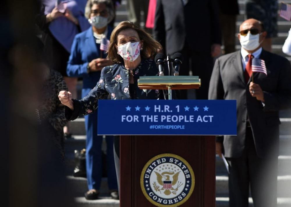 "Speaker Nancy Pelosi  speaks at an event on the steps of the U.S. Capitol for the ""For The People Act of 2021"" in Washington, DC, on March3, 2021. Th act is hailed as the most significant voting rights and democracy reform in more than half a century.  (Photo by Eric Baradat/AFP via Getty Images)"