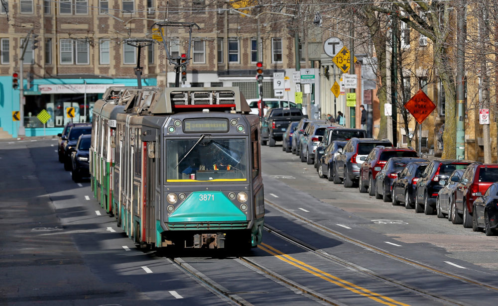 The Green Line train makes its way up South Huntington Avenue to the Heath Street MBTA station on Dec. 7, 2020 in Boston.  (Matt Stone/ MediaNews Group/Boston Herald)