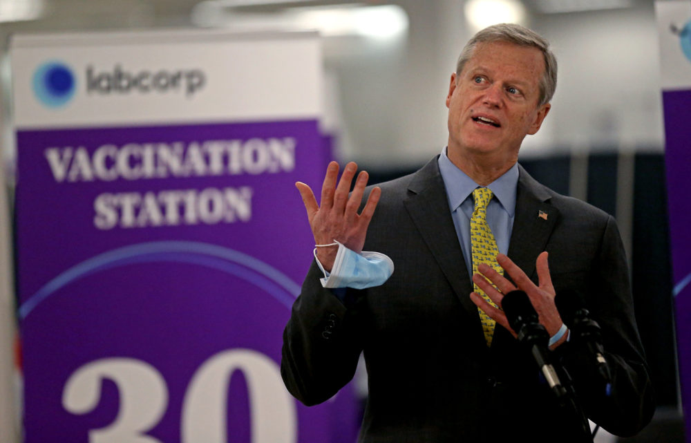 Gov. Charlie Baker speaks at a mass vaccination site at the Natick Mall on Feb. 24, 2021. (Matt Stone/MediaNews Group/Boston Herald via Getty Images)