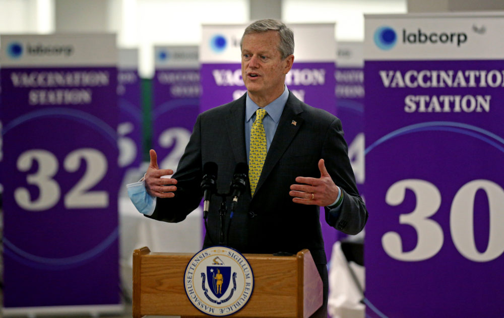 Gov. Charlie Baker speaks at a mass vaccination site at the Natick Mall on Feb. 24, 2021 in Natick, Massachusetts. (Matt Stone/MediaNews Group/Boston Herald via Getty Images)