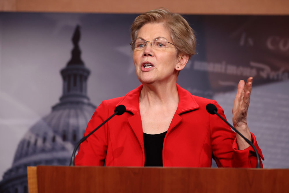 Sen. Elizabeth Warren (D-MA) holds a news conference to announce legislation that would tax the net worth of America's wealthiest individuals at the U.S. Capitol on March 1, 2021 in Washington, DC. (Chip Somodevilla/Getty Images)