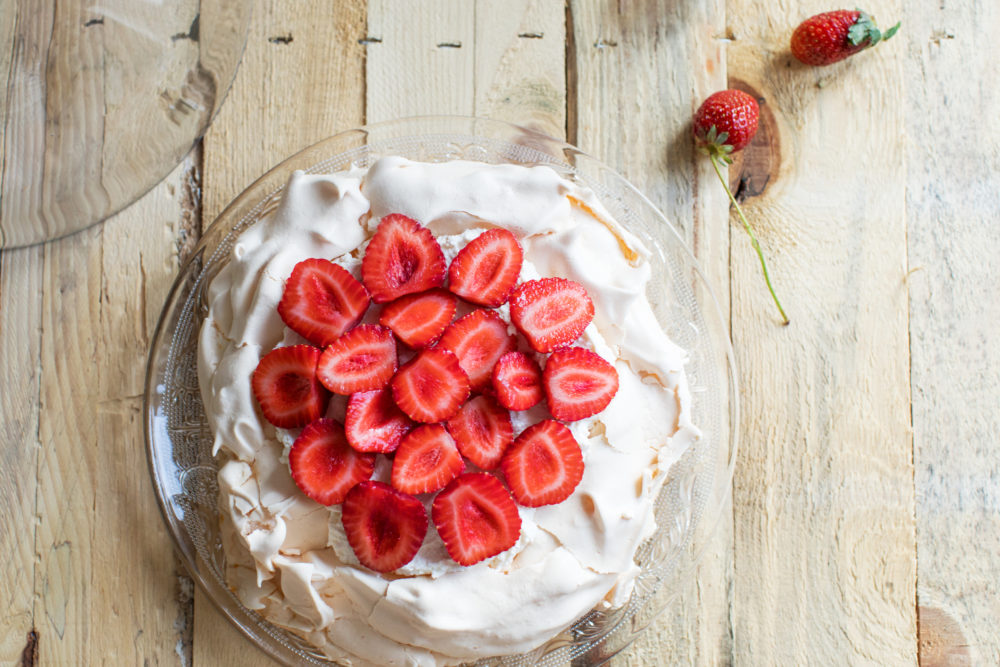A meringue cake with strawberries. (Getty Images)