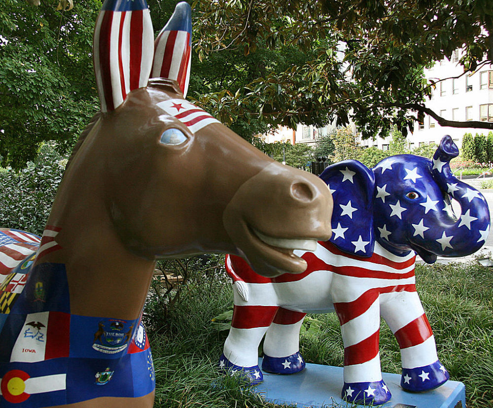 The symbols of the Democratic (donkey) and Republican (elephant) parties are seen on display in Washington, D.C. in 2008. (Karen Bleier/AFP/Getty Images)