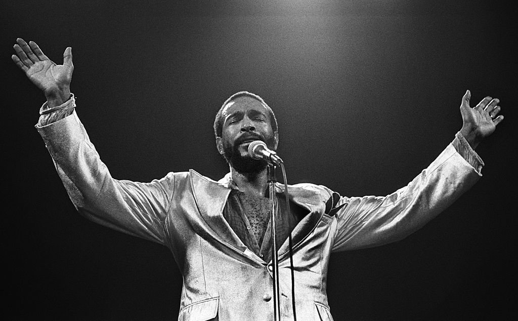 Marvin Gaye performs on stage at De Doelen, Rotterdam, Netherlands, in July of 1980. (Rob Verhorst/Redferns)
