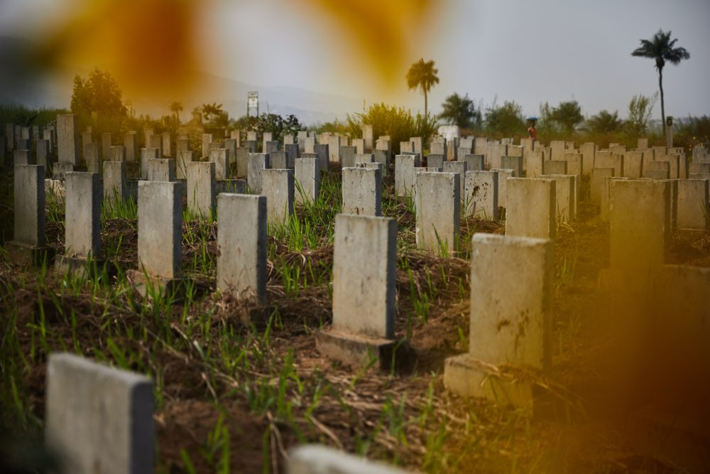 Headstones line the Waterloo Ebola graveyard in Waterloo, Sierra Leone on Dec. 14, 2017. (Hugh Kinsella Cunningham/AFP via Getty Images)