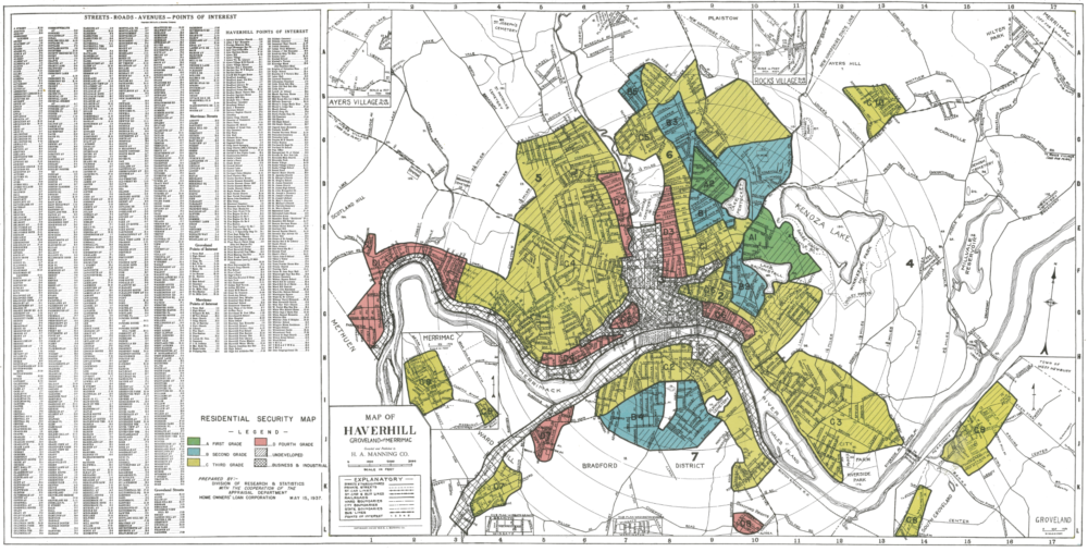 Home Owners Loan Corporation (HOLC) map of Haverhill from the 1930s.  Areas colored red were considered high risk for mortgage lenders. (Courtesy of Mapping Inequality)