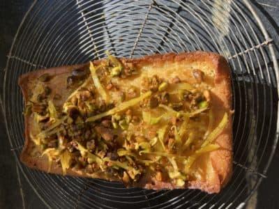 Meyer lemon pound cake with pistachio-lemon glaze. (Kathy Gunst)
