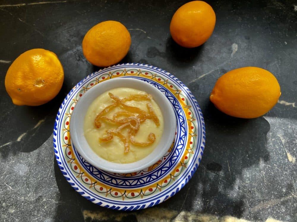 Lemon pudding with candied lemon zest. (Kathy Gunst)
