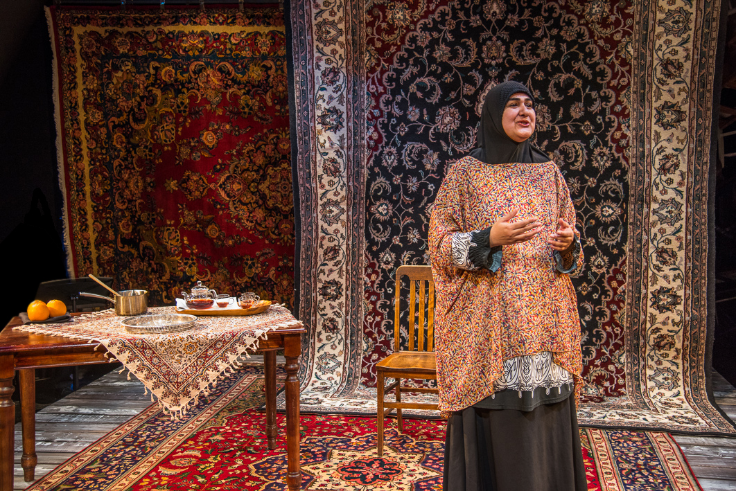 """Rohina Malik in her one-woman show at New Repertory Theatre, """"Unveiled."""" (Courtesy Andrew Brilliant/Brilliant Pictures)"""