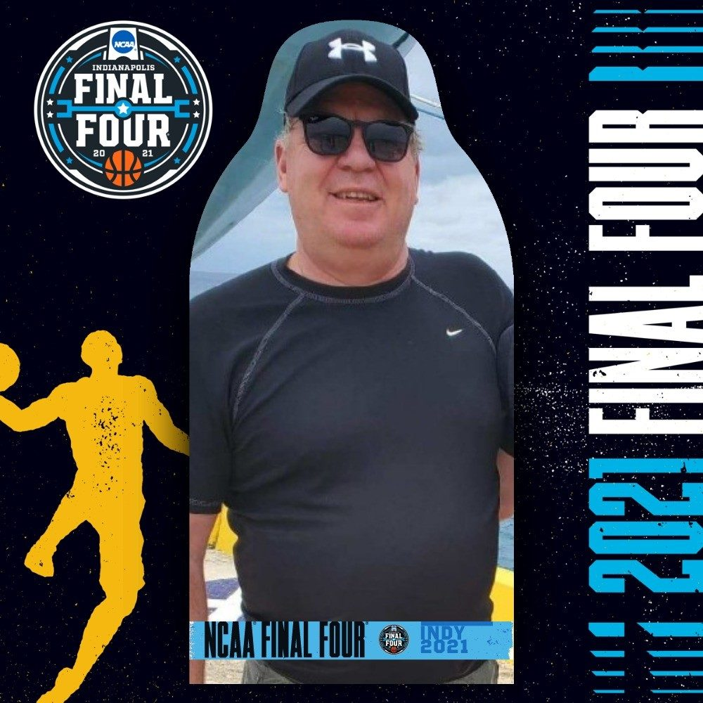 Cut out of Dan Boucher. Starting with the 2009 Final Four in Detroit, Dan Boucher and his son Zach Boucher have attended every single Final Four for the past 11 years together, up until last year's tournament was canceled. Dan Boucher died from COVID-19 in Feb. 2021. (Courtesy of Perk Social)
