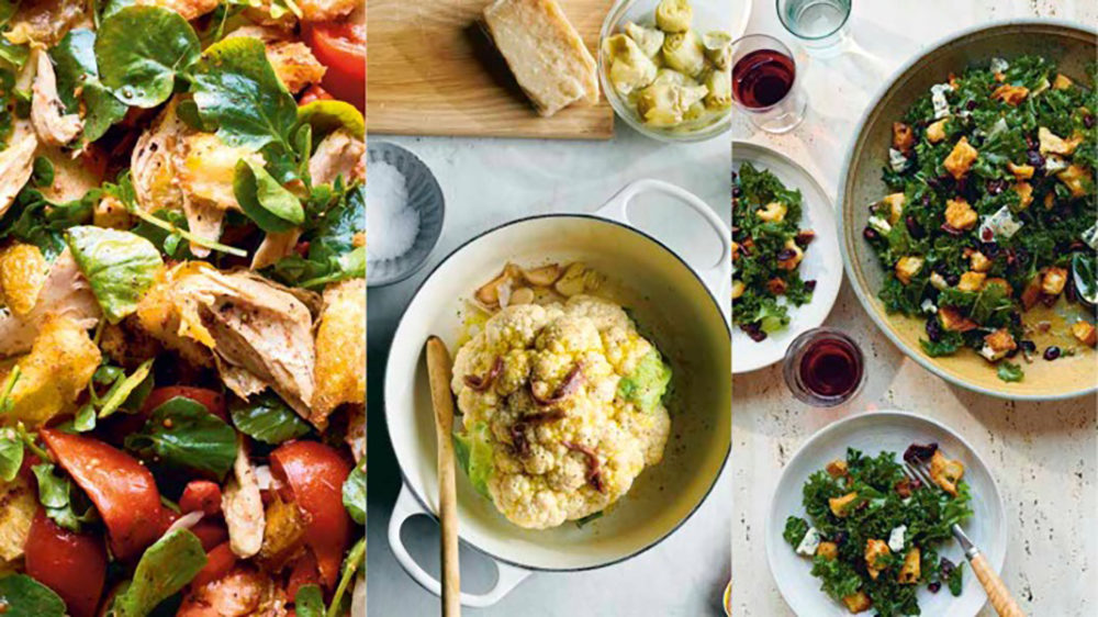 Rotisserie chicken panzanella (left), roasted cauliflower soup with artichoke cream, and kale salad with cranberries, pecans, and blue cheese. (Photos by David Malosh)