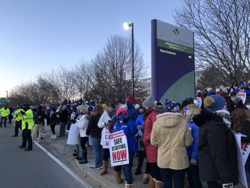 Nurses outside St. Vincent Hospital in Worcester, gathering to strike. (Lynn Jolicoeur/WBUR)