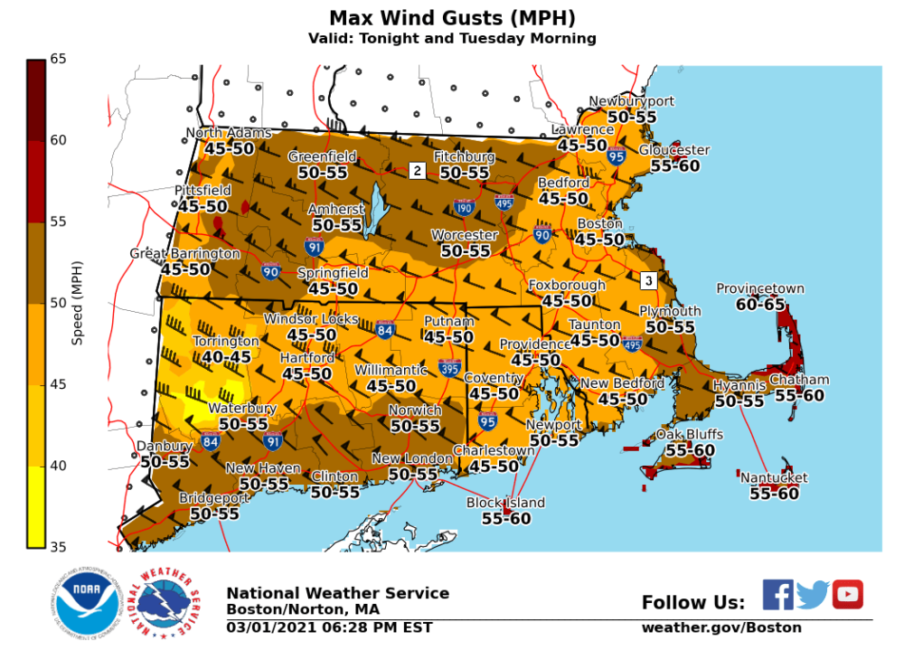 The wind gust forecast for Massachusetts on Monday night into Tuesday morning included widespread gusts 45 to 55 mph, with a few 60 mph gusts over higher terrain and outer Cape/Islands. (Courtesy National Weather Service Boston)
