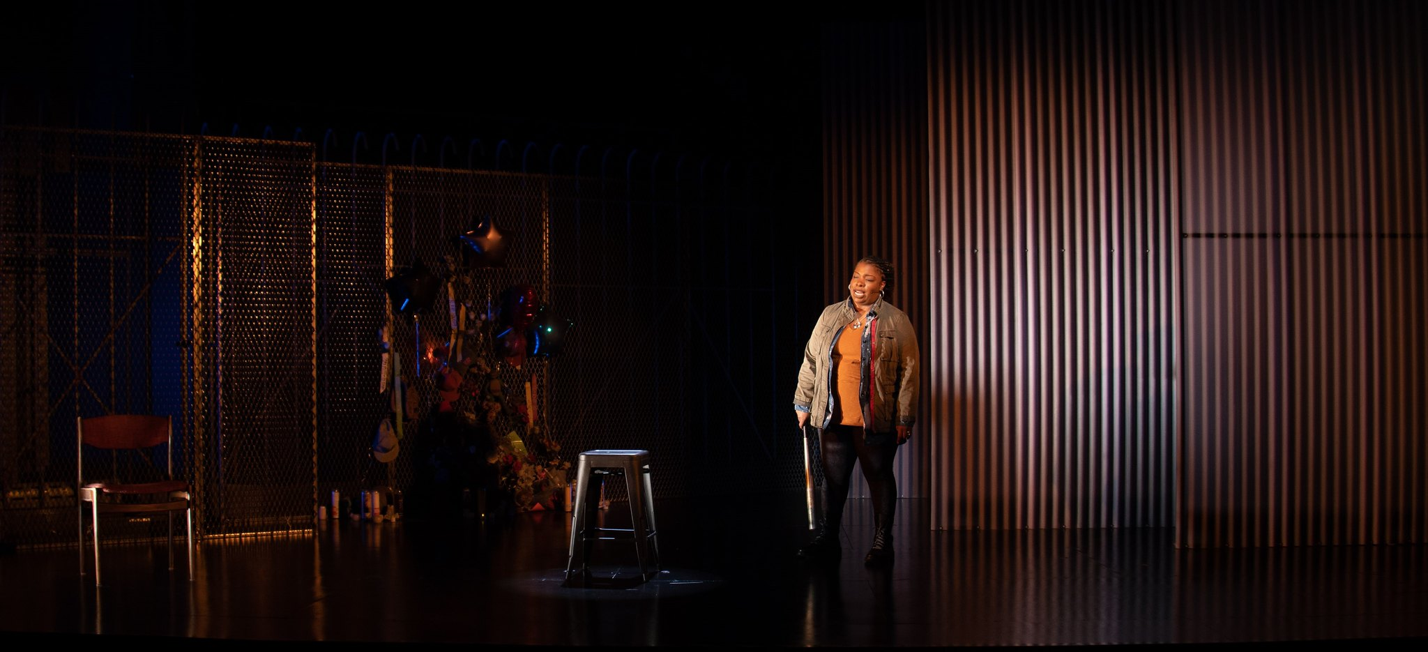 """Maiesha McQueen in Merrimack Repertory Theatre's """"Until the Flood."""" (Courtesy Kathy Wittman)"""