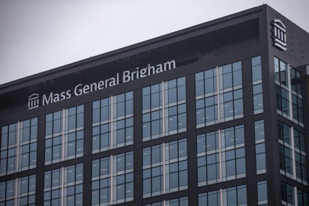 Mass General Brigham offices in Somerville. (Jesse Costa/WBUR)