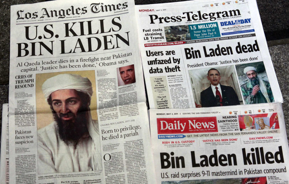 Los Angeles-area newspapers headline the death of Osama bin Laden on May 2, 2011. (Nick Ut/AP)