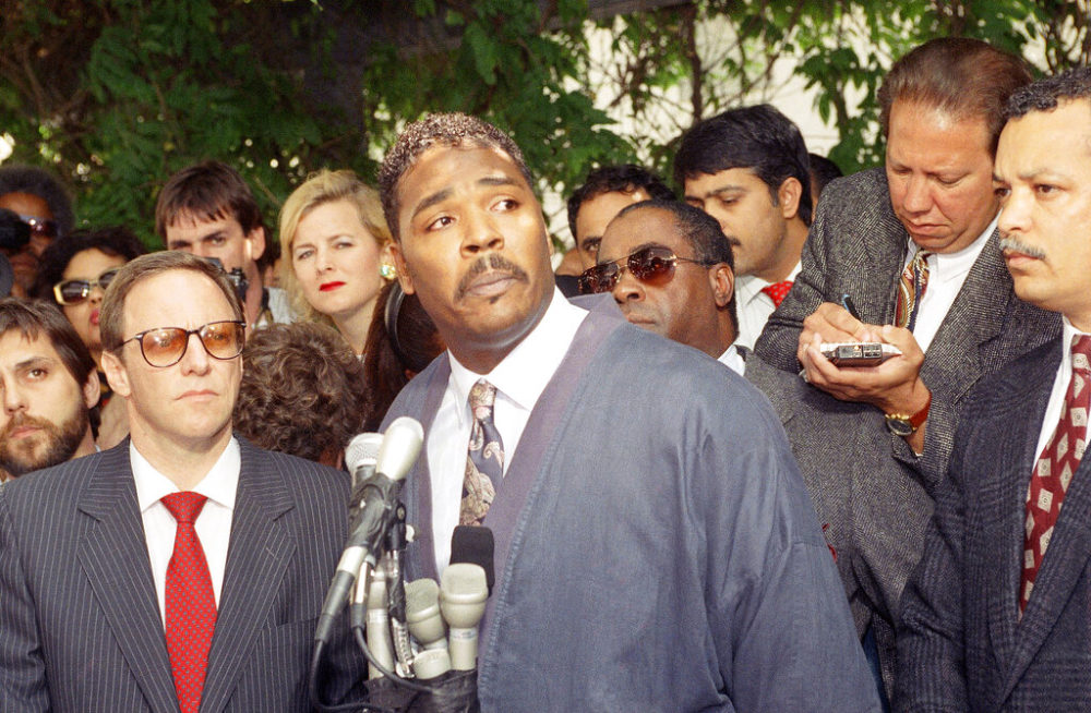 In this May 1, 1992 file photo, Rodney King makes a statement at a Los Angeles news conference, where he asked for an end to violence. When violent protests over the death of George Floyd reached Los Angeles, people of color expressed heartbreak but not necessarily surprise. They had seen it nearly 30 years ago when riots rocked the city after four white police officers were acquitted of charges in the beating of King. (AP Photo/David Longstreath, File)