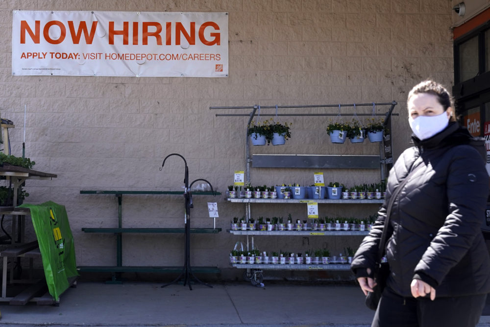 A hiring sign is seen outside home improvement store in Mount Prospect, Ill., April 2, 2021. (Nam Y. Huh/AP)